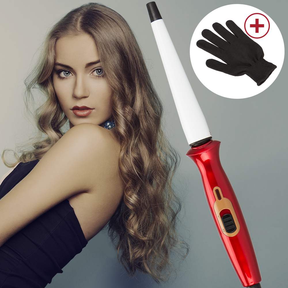 New Pro Cone Ceramic Beauty Wave Styling Tools Tapered Curling Iron Electric Curling Wand Shiny Red Hair Curler Roller 110-220V