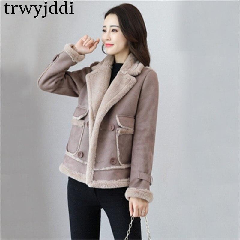 2018 mode épaissir les vestes de coton chaud pour les femmes Double boutonnage femmes Deerskin vestes hiver filles court manteau d'agneau A1437
