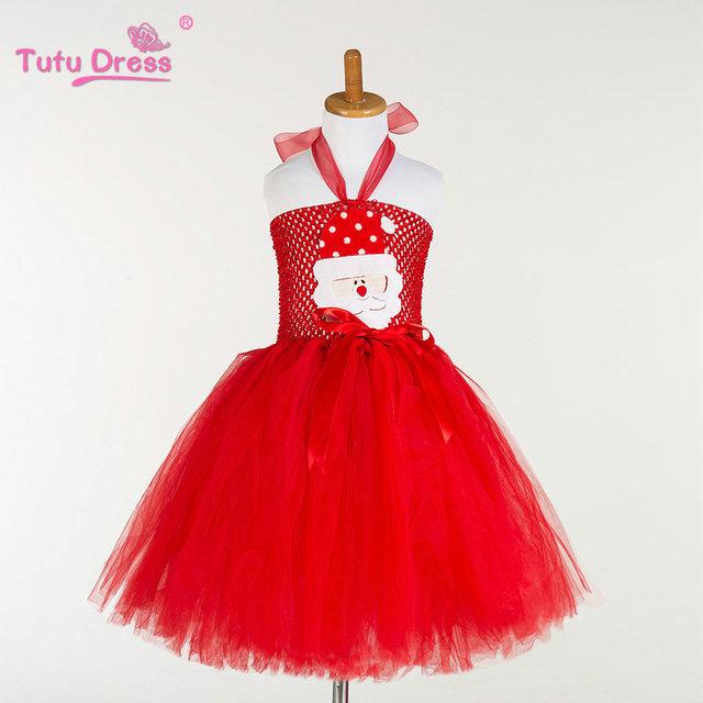 Navidad Tutu Vestido Inspirado Hecho A Mano Totalmente Santa Tutu Vestido de Año Nuevo Vestido de La Muchacha