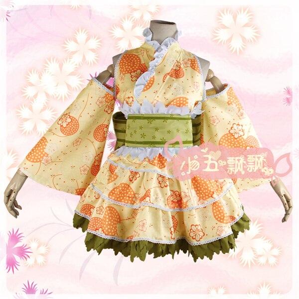 Anime Love Live Minami Kotori Bath Kimono Dress Awakening Yellow Cosplay Costume Kimono+Headdress+Socks Free Shipping D anime balala the fairies duan xiaomin cosplay costume cute yellow girl dress d