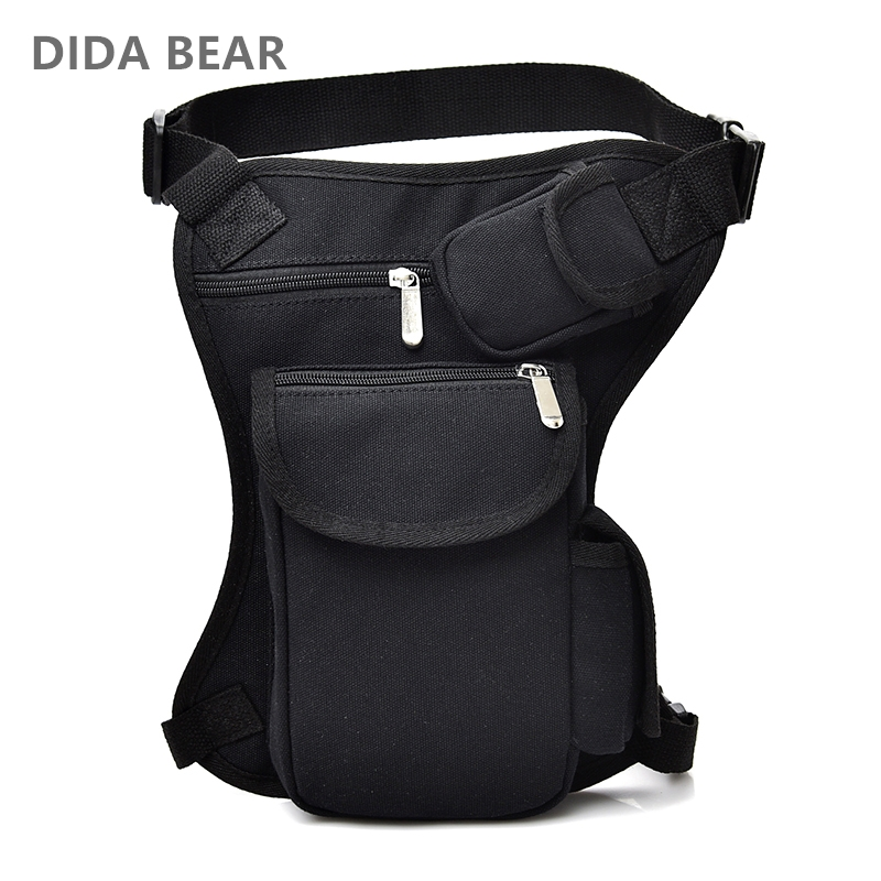 2019 Men Canvas Drop Waist Bags Leg Pack Bag Men Belt Bicycle And Motorcycle Money Belt Fanny Pack For Work Black High Quality