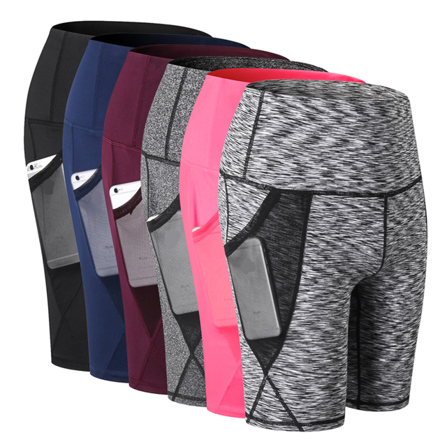 Sport Shorts Women Compression Shorts Women Sports Pocket Leggings High Waist Elastic Running Shorts Fitness Gym Short Feminino 1
