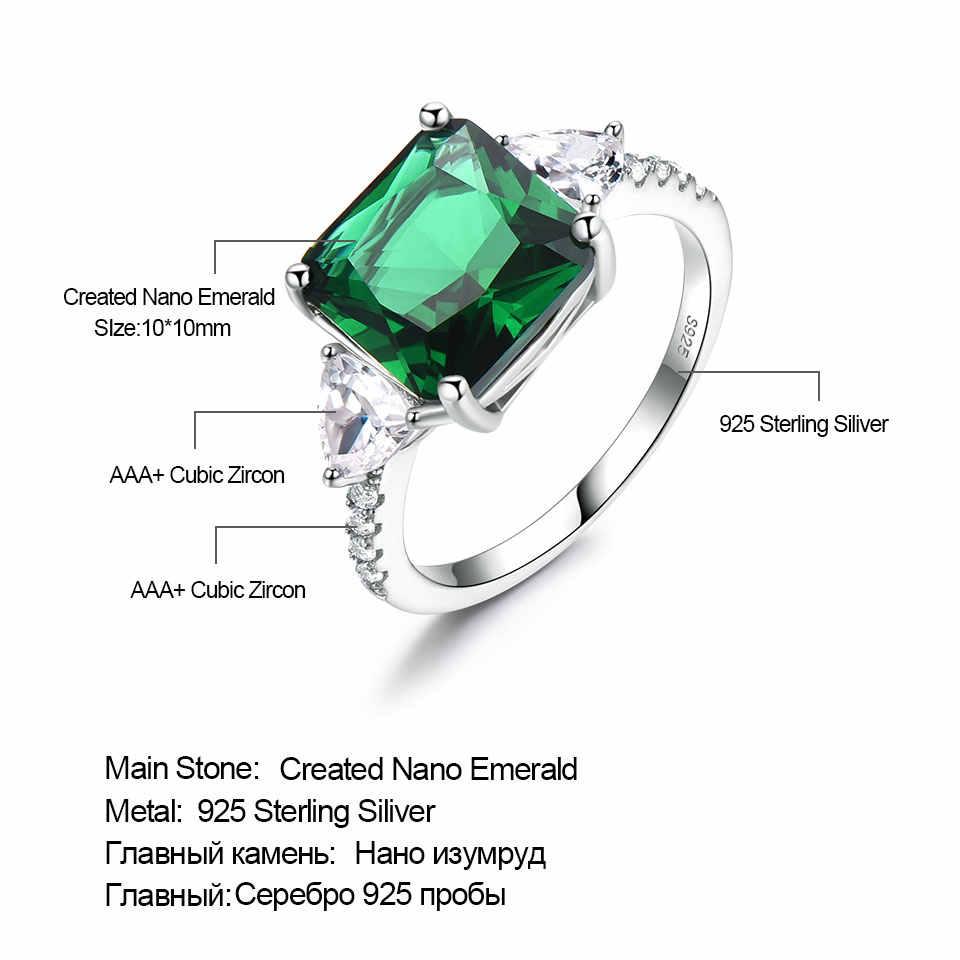 UMCHO Smaragd Edelstein Ringe für Frauen Solide 925 Sterling Silber Versprechen Ring Quadrat Grüne Hochzeit Engagement Luxus Schmuck Neue