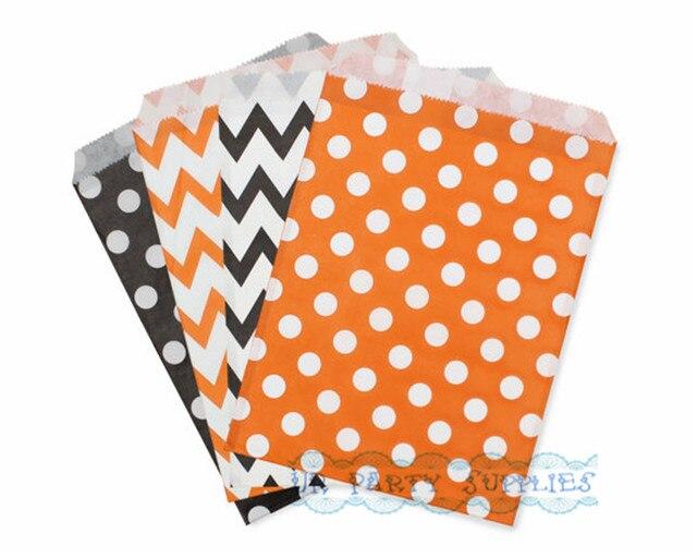 1000pcs black and orange polka dot chevron paper favor bags