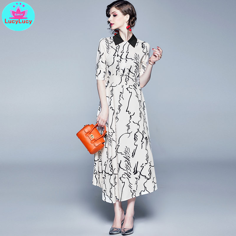2019 summer new sketch abstract print irregular French style contrast color lapels dress Zippers  Short