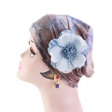 New Vintage flower Tie-dyed Cotton Cap Turban Women Muslim Elastic Chemo Hat Comfortable Soft Scarf Ladies Hair Accessories