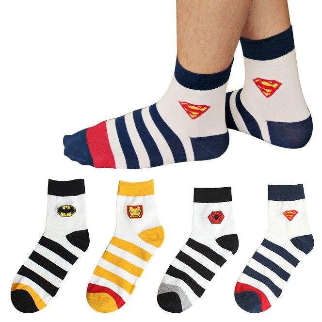 New 2015 high quality Mens Brand Harajuku Cotton Socks Male cartoon Spider Man Batman Superman Iron Man socks Stripe socks