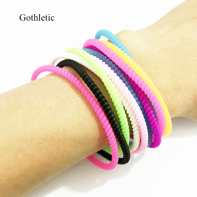 Gothletic Rope Shape Silicone Jelly Wristband 10pcs/set Rainbow Colour Sporty Bracelet Rubber Hair Tie Kids Jewelry Accessories