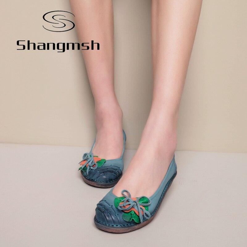 Shangmsh embarazada Estampado de Flores Zapatos Planos de Las Mujeres de Cuero G