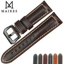 MAIKES Handmade Genuine Leather Watch Band Men Women  22mm 23mm 24mm 26mm Stainless Steel Buckle Strap for Panerai Watchband