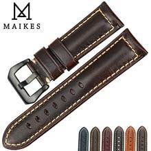 MAIKES el yapımı hakiki deri saat kayışı erkekler kadınlar 22mm 23mm 24mm 26mm paslanmaz çelik toka askısı panerai kordonlu saat