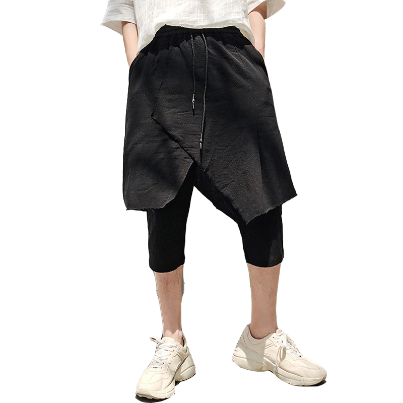 18 Summer Cotton Literature Youth Culotte Man Seven Part Pants joggers streetwear hip hop personality city boy trend exquisite