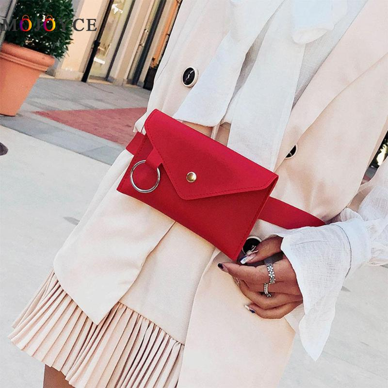 Women Simple Envelope Soft  PU Leather Waist Pack Pure Color Casual Belt Bag Multifunctin Portable Chest Bag Girls Fanny Pack