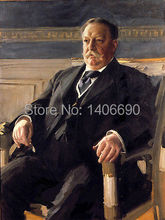 TOP art work -Christmas present # USA America President William Taft -24″ inch -handpaint oil painting on canvas