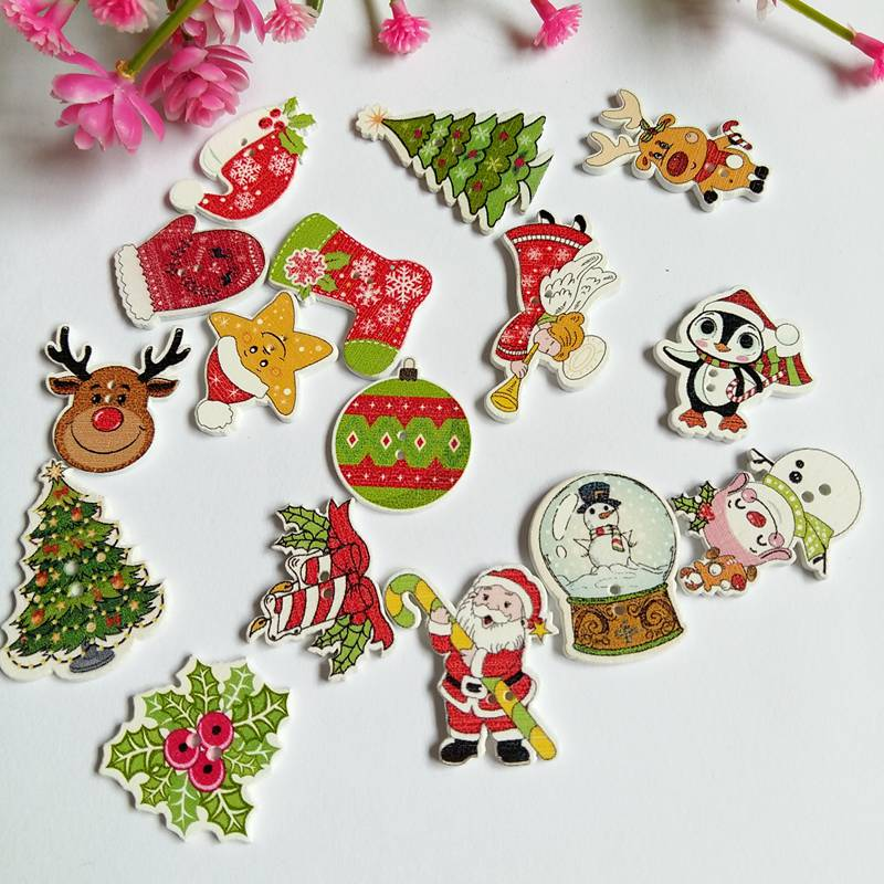 Sewing Crafts 50pcs Christmas Elf Wooden Buttons Decoration