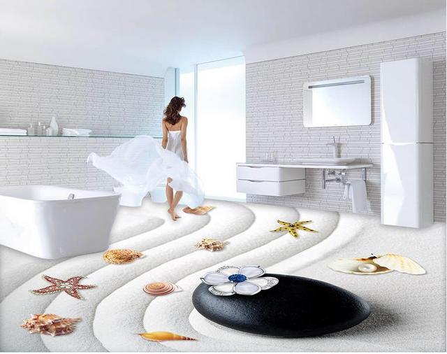 Custom behang voor vloer wit zand strand d kamer behang landschap