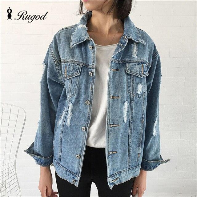 Rugod Jeans Jacket Women Casacos Feminino Slim hot fashion holes Denim Jacket Lady Elegant Vintage Jackets 2018 Basic Coats