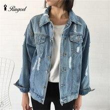 Rugod Jeans Jacket Women Casacos Feminino Slim hot fashion holes Denim