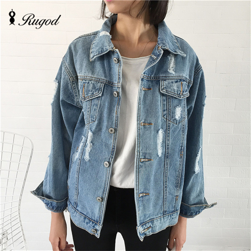 Rugod <font><b>Jeans</b></font> Jacket Women Casacos Feminino Slim hot fashion holes Denim Jacket Lady Elegant Vintage Jackets 2017 Basic Coats