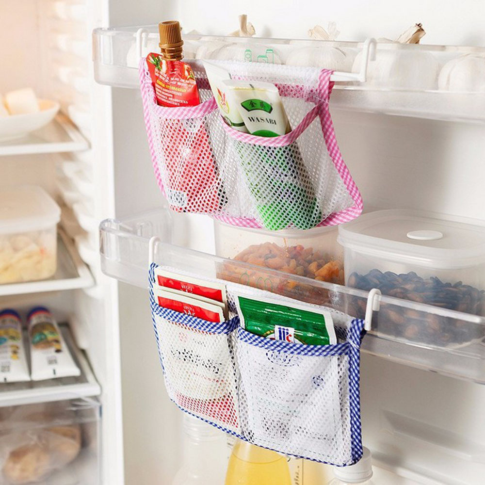 New Kitchen Refrigerator Hanging Storage Bag Food Organizer Fridge Mesh Holder storage organizer kitchen cabinet storage#sw