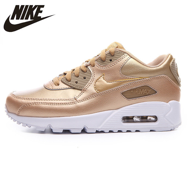 premium selection 59734 2f929 Nike AIR MAX 90 LTR GS New White Powder Champagne Women s Running Shoes  Sneakers