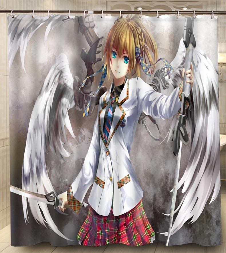Fashion New Bathroom Decor Angel Girl Wings Sword Polyester Fabric Waterproof Shower Curtain 180 180cm