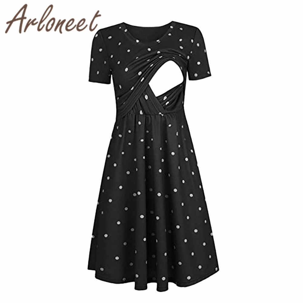 ARLONEET Kleidung frauen mutterschaft kleid Dot drucken eine linie kleid  party Stillen kleid Sommer elegante damen pregnanct Vestidos
