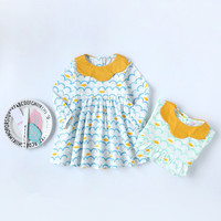 Retail 1 Pcs Baby Girl Dress Spring Summer New 2017 Long Sleeve Wave Striped Print New