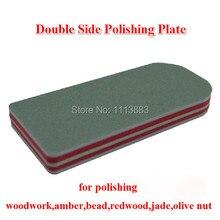 2PCS/LOT Double Side Sanding Sponge Buffing Block File Polishing Plate For Woodwork Amber Bead Redwood Jade Olive Nut