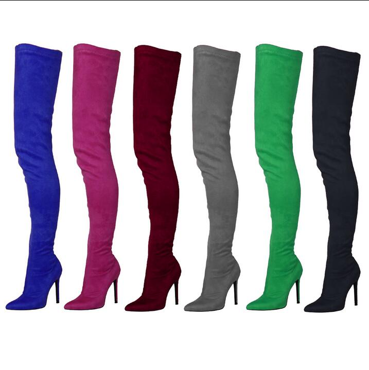 Plus-Size-12-Black-Green-Suede-OverThe-Knee-Boots-Womens-Pointed-Toe-10CM-Tight-High-Shoes (1)