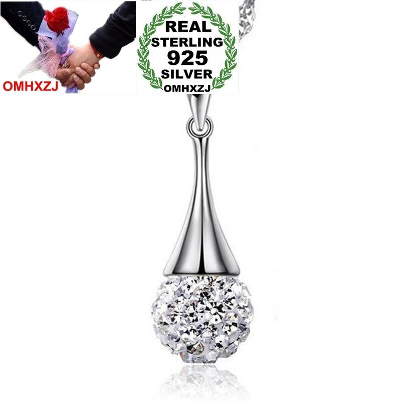 GroßEs Sortiment keine Kette Halskette Omhxzj Großhandel Mode Einfache Bohrer Ball Frau Mädchen Geschenk Zirkon 925 Sterling Silber Anhänger Charms Pe169