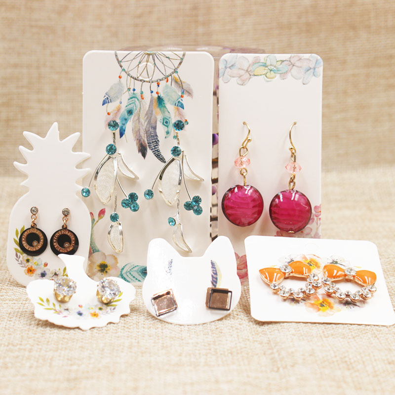 100pcs paper pineapple Cat Life Tree Earring Display Tags Cards Dreamcatcher Jewellery necklace Holder Gift Shop Tags Cards