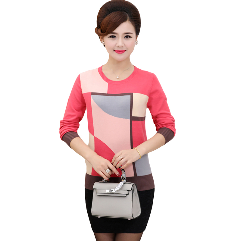 2018 Spring Autumn Loose Geometric Print Sweater Women Casual Knitted Long Sleeve Sweater Plus Size Pullovers Sweater YP1061 5