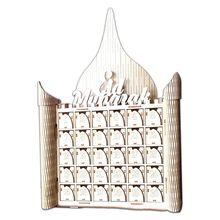Wooden MDF Muslim Eid Mubarak Sign Advent Calendar Countdown House Drawer Party DIY Decoration