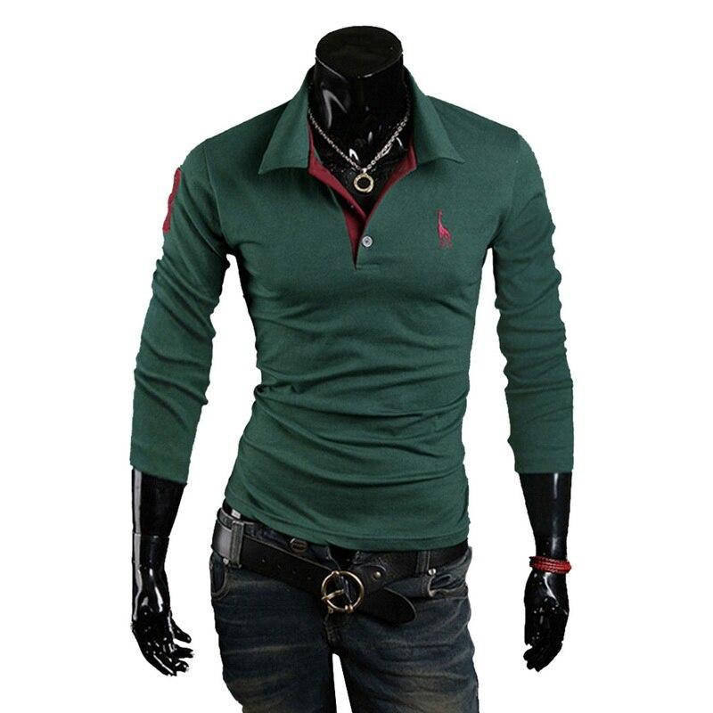 LASPERAL Plus Size   Polo   Shirt Men Fashion Deer Embroidery Print Male   Polo   Shirts Autumn Casual Long Sleeve Turndown Collar Tops
