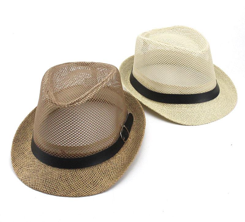 d14d2c32f6b30 Summer Men Women Jazz Gangster Cap Fedora Hat Trilby Straw Panama Hat  Outdoor Beach Sun Mesh hat Breathable Adults British Style