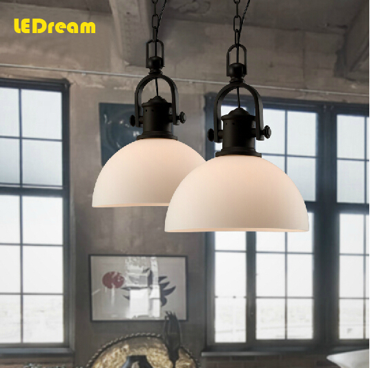 LEDream  Loft industrial restaurant bar restoring ancient ways is contemporary and contracted jazz chandelier glass lamp shade