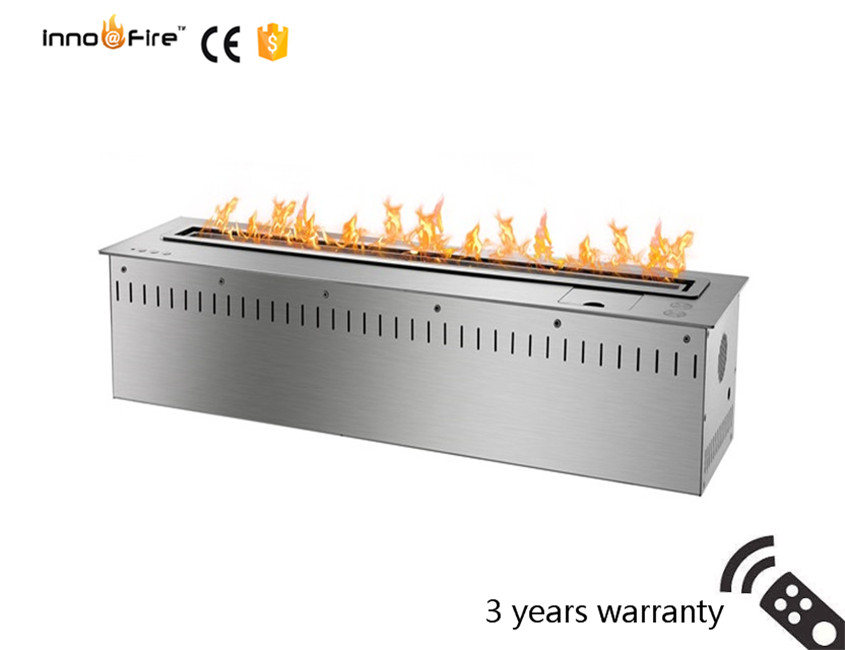 30 Inch Long Silver Or Black Remote Control Intelligent  Insert Ethanol Fireplace