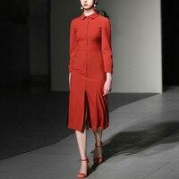 New High Quality 2019 Spring Summer Designer Women's Peter Pan Collar Wrist Sleeves Red Slim Waist Buttons Mid calf Dress