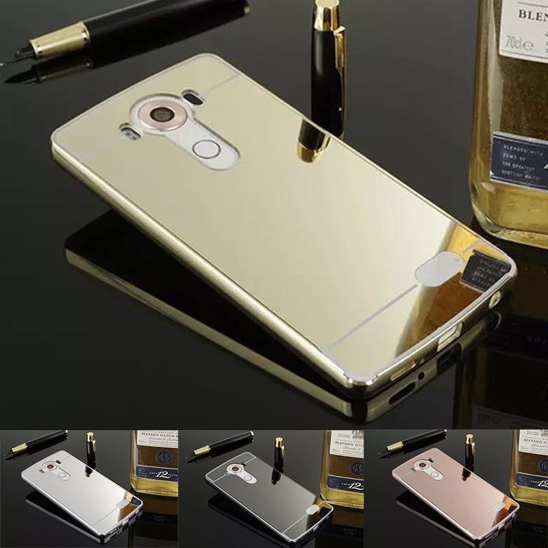 39302705dda Aluminio de lujo del espejo coque para LG G2 G3 G4 G5 PC acrílico cubierta  metal Marcos para LG G2 espejo caso coque espelhada caso <