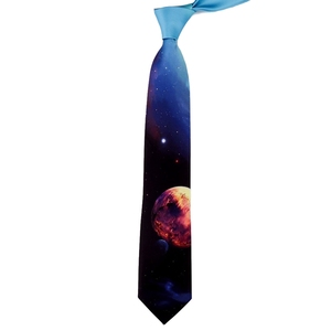 Image 5 - Design Creative Print Tie Boys and Girls Party Birthday Youth Gift Trend Personality Blue Planet Tie