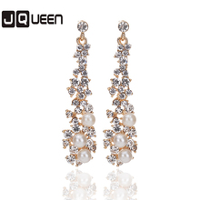 2017 Luxury Simulated Pearl Long Earrings For Women Crystal Gold Color Dangle Drop Earrings Wedding Jewelry Brincos Orecchini