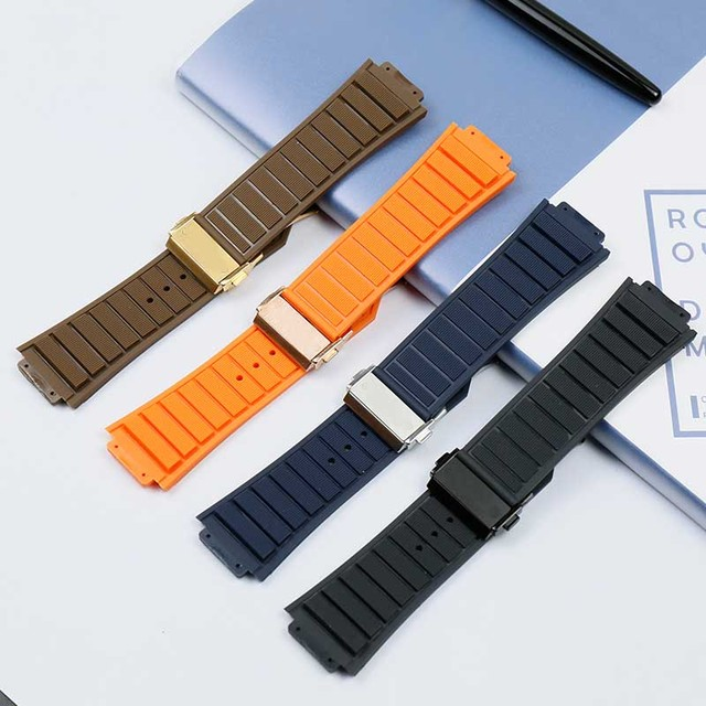 Rubber waterproof sweat-proof men's watch belt for Hublot casual series 29mmx19mm ladies silicone watch accessories watch band 3