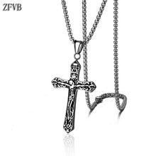 ZFVB Vintage Religious Cross Necklace Men Stainless Steel High Quality Jesus Pendant Necklaces Male Jewelry Gift