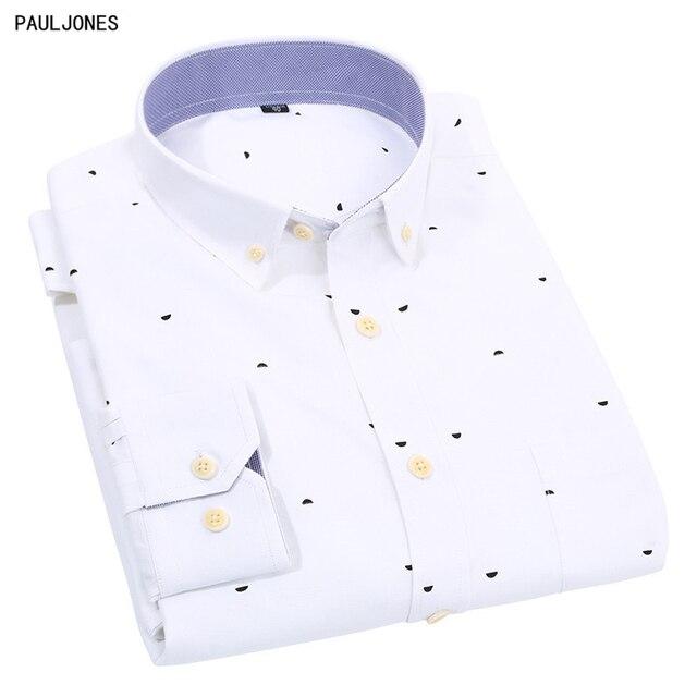 Pauljones New Long Sleeve Korean Slim Fit Mens Printed Oxford Shirt