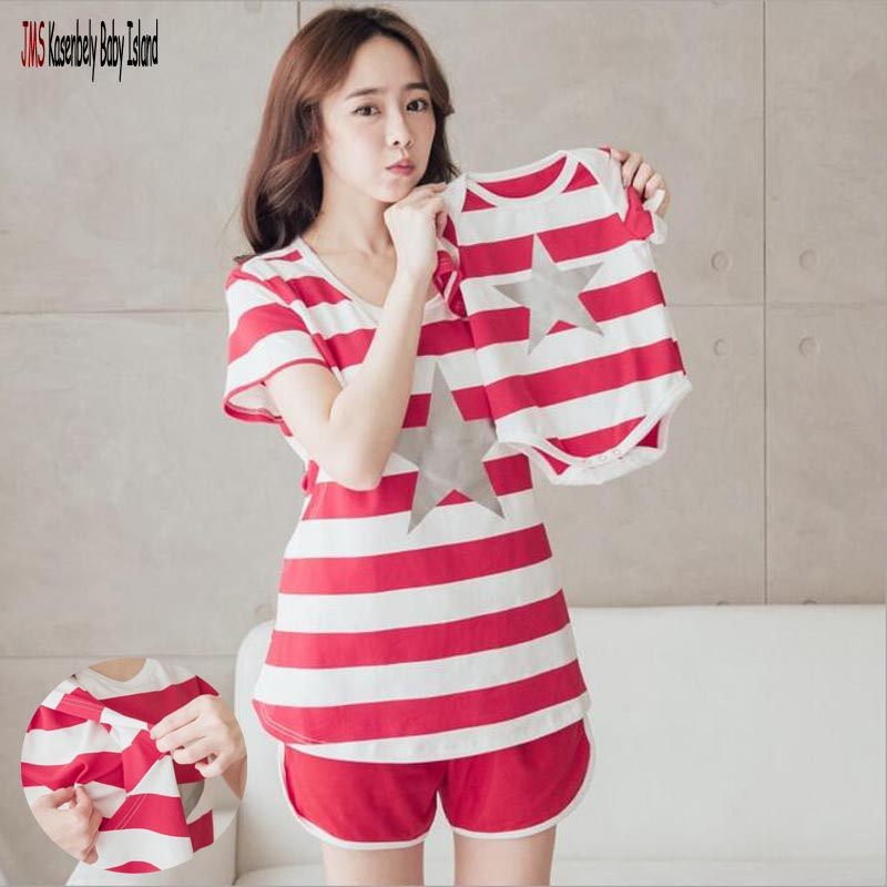 JMS Kasenbely Family Matching Clothing Star Family T Shirt Suit Mother Daugther Outfits Mom And Baby Matching Clothes Baby Rompe