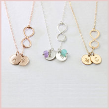 лучшая цена SG 925 sterling silver Personalized Infinity necklace for women Custom engraving disc Letter pendant necklace Love Jewelry gifts