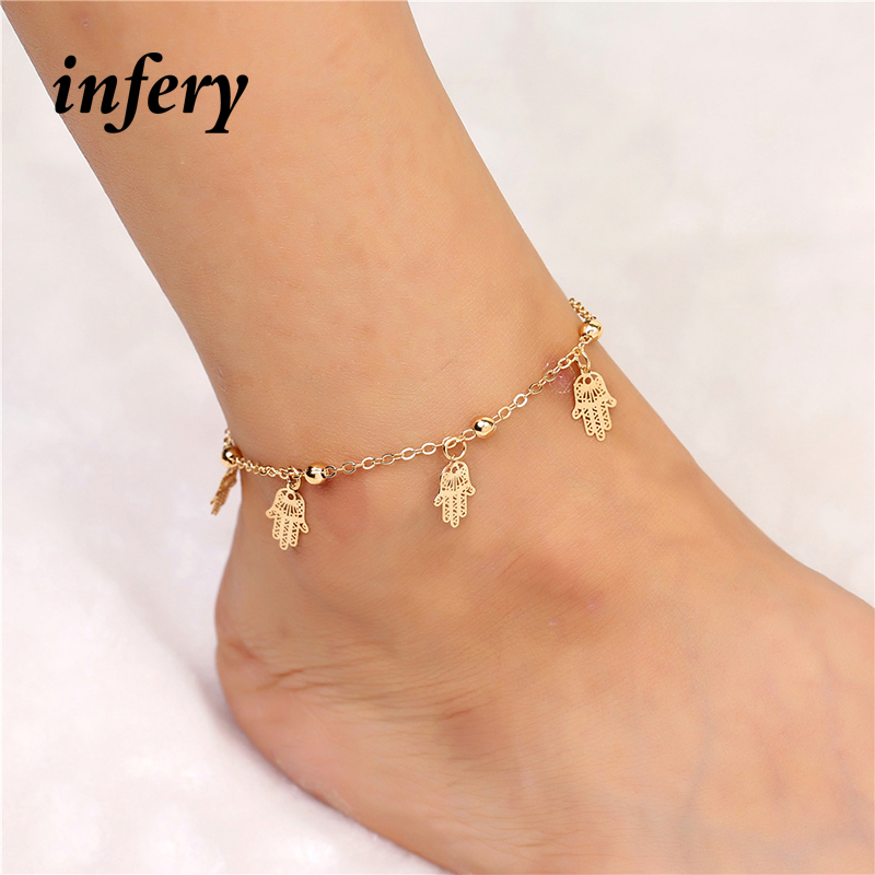 Infery Womens Hand Shape with Bells Anklet Bracelet Fashion Foot Jewelry Accessories 2017 1B393