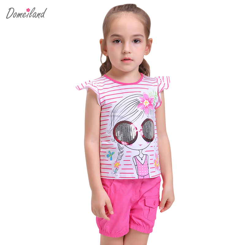 2017 fashion brand domeiland summer girl clothing set outfits baby kid cotton ruffle short sleeved stripe