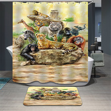 Tissu Animaux léopard Rideau De Douche Accueil Salle De Bains Rideaux 3d éléphant ours paon girafe Étanche De Bain Rideau avec Crochets